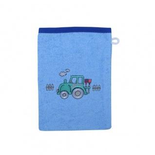 Frottee Waschlappen Traktor blau