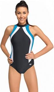 Badeanzug - Schwimmanzug Olivia graphit/blau/weiß