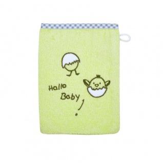 Frottee Waschlappen grün mit Stickerei Hallo Baby