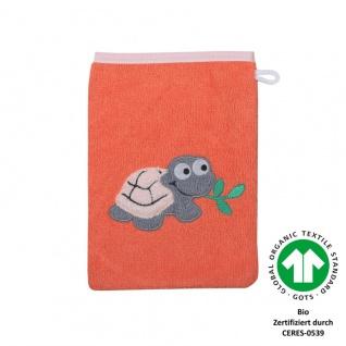 Frottee Waschlappen orange mit Stickerei Schildkröte