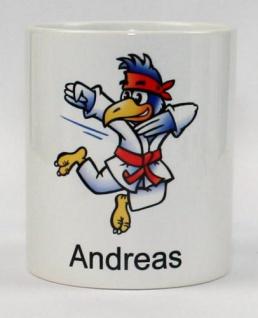 Tasse mit Kampfsport Vogel und Name