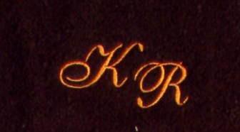 Gästetuch 30x50 cm New York mocca mit Intitialienbestickung orange 0904