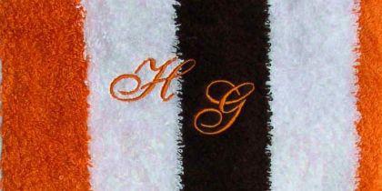 Handtuch 50x100 cm New York mocca/weiß/orange mit Initialienbestickung orange 0904