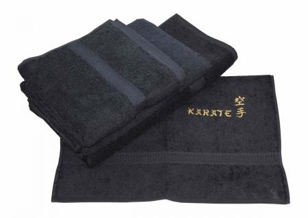 Frotteetücher schwarz bestickt in gold mit Karate und Schriftzeichen