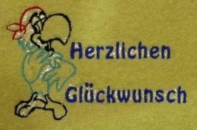 """Handtuch aus Frottee mit Bestickung """"Herrzlichen Glückwunsch - Vorschau 1"""