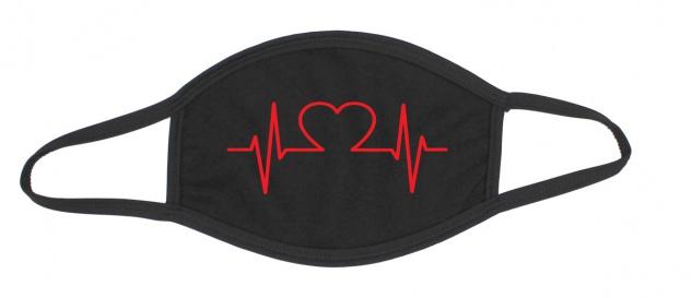 Mund-Nase-Maske Baumwolle schwarz Herzschlag EKG / Herz