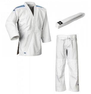 Judoanzug Adidas Club J350 weiß mit blauen Schulterstreifen