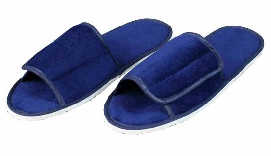 Frottee Slipper mit Klettverschluss blau (Größe: 36-41)