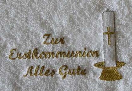 """Handtuch aus Frottee mit Bestickung """"Kommunion - Vorschau 1"""