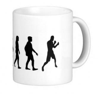 Tasse weiß bedruckt mit Boxing Evolution