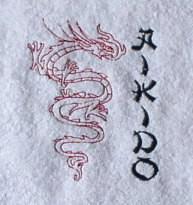 Handtuch aus Frottee mit Stickmotiv Aikido und Drache - Vorschau