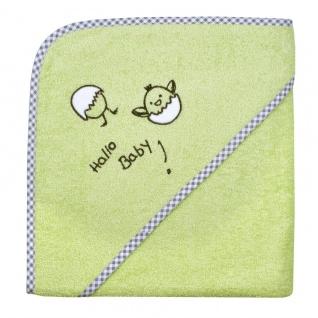 Frottee Kapuzenbadetuch grün mit Stickerei Hallo Baby