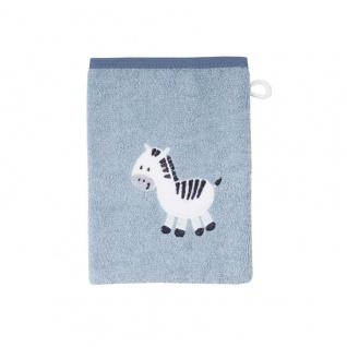 Waschlappen/Waschhandschuh hellblau mit Zebra 15x21 cm