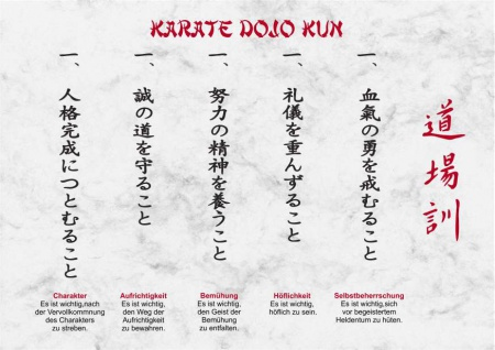 Urkunde Karate Dojo Kun DIN-A4 grau