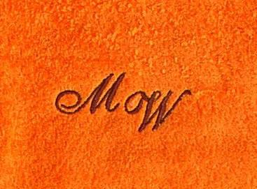 Duschtuch 70x140 cm New York orange mit Intitialienbestickung dunkelbraun 1355 - Vorschau 1