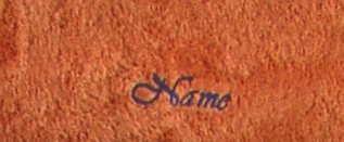 Saunatuch Supreme 100x200 cm terracotta 600 g/m2 mit Namensbestickung dunkelblau 3323