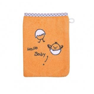 Frottee Waschlappen orange mit Stickerei Hallo Baby