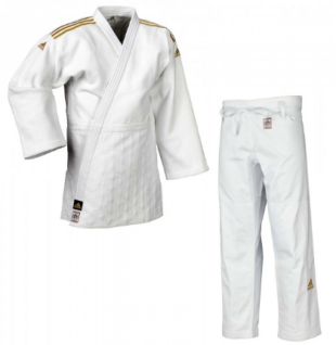 Judoanzug Adidas CHAMPION II IJF weiß mit goldenen Schulterstreifen