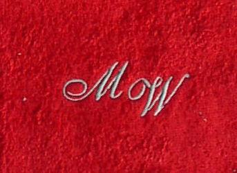 Handtuch 50x100 cm New York rot mit Intitialienbestickung silber 0142