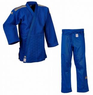 Judoanzug Adidas CHAMPION II IJF blau mit goldenen Schulterstreifen