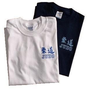 T-Shirt blau mit Stickmotiv Judo