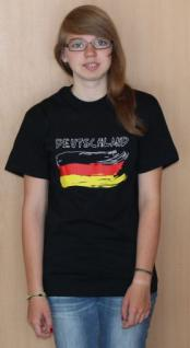 schwarzes T-Shirt mit Bedruckung Deutschland und Fahne, Größe - Vorschau