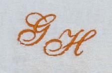 Gästetuch 30x50 cm New York weiß mit Intitialienbestickung orange 0904