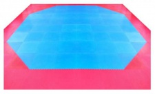 Octagon Set für 8x8m blau-rot Kampfsportmatten