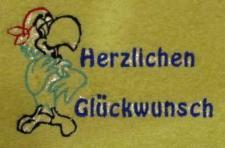 """Handtuch aus Frottee mit Bestickung """"Herrzlichen Glückwunsch"""