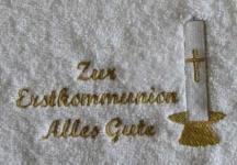 """Handtuch aus Frottee mit Bestickung """"Kommunion"""