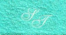Gästetuch 30x50 cm New York türkis mit Intitialienbestickung weiß 0010