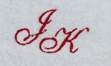 Badetuch 100x150 cm New York weiß mit Intitialienbestickung rot 1904