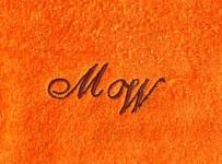 Badetuch 100x150 cm New York orange mit Intitialienbestickung dunkelbraun 1355