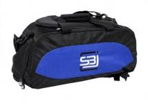Sporttasche mit Rucksackfunktion in schwarz mit farbligen Seiteneinsätzen