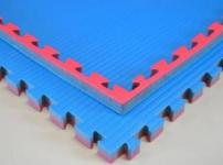 Universalmatte für Judo oder Selbstverteidigung blau/rot - 100 x 100 x 4 cm