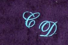 Badetuch 100x150 cm New York lila mit Intitialienbestickung türkis 4111
