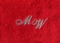 Seiftuch 30x30 cm New York rot mit Intitialienbestickung silber 0142