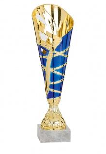 Pokal gold/blau aus Kunststoff mit Marmorsockel