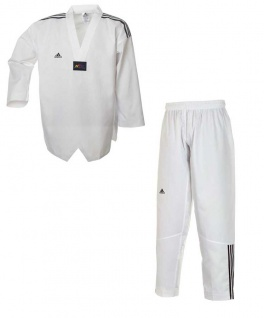 adidas Taekwondoanzug, Adi Club 3, weißes Revers mit schwarzen Schulterstreifen