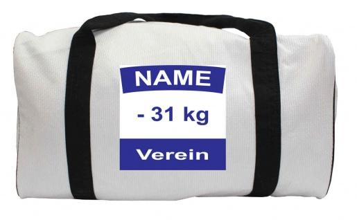 Judotasche weiss aus Judoanzugstoff mit Rückennummer