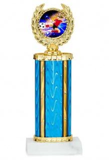 gold blauer Pokal in Zylinderform mit Emblem