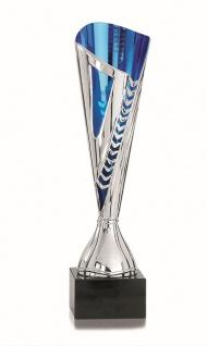 Pokal silber/blau aus Kunststoff mit Marmorsockel