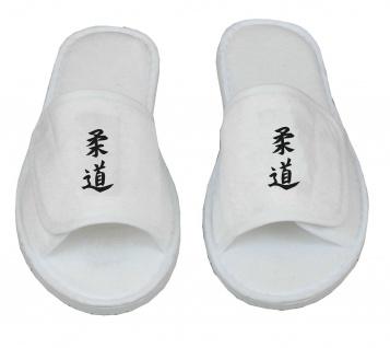 Frottee Slipper mit Judo Schriftzeichen Kanji