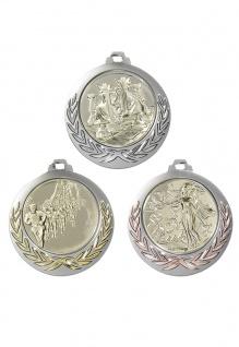 Medaille in siber mit Zierkranz in gold, silber, bronze, 7 cm