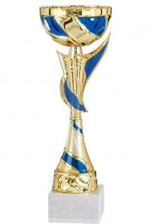goldener Pokal mit verzierten Pokalfuss und Applikationen in blau