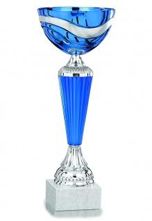Pokal in blau mit silbernen Verzierungen