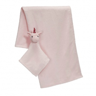 Baby Kuscheldecke in rosa mit Einhorn Kuscheltuch
