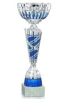 Pokal in silber mit blauen Details