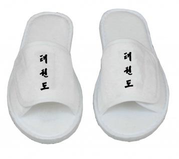 Frottee Slipper mit Taekwondo Schriftzeichen Kanji