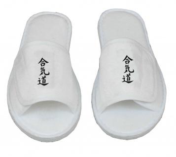 Frottee Slipper mit Aikido Schriftzeichen Kanji